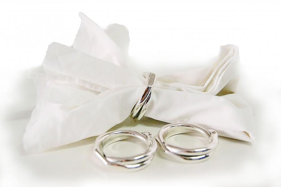 portatovaglioli in argento con anelli - arte bronzo