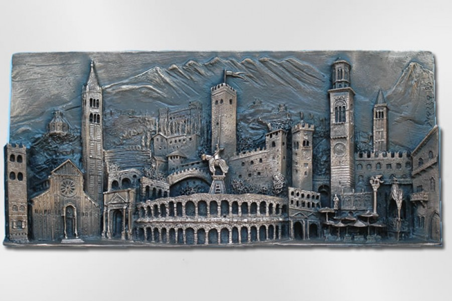 art bronze sculpture - Bronze bas-relief of Verona City